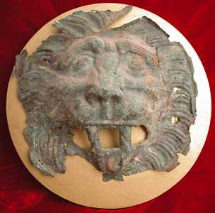 Roman Period Bronze Lion Head Applique