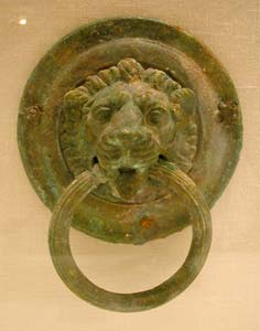 Roman Bronze Lion Roundel with Handle