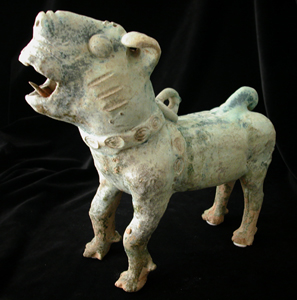 Han Frosted Green-Glazed Terracotta Dog