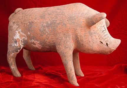 Han Terracotta Sculpture of a Pig with Incised Decorations
