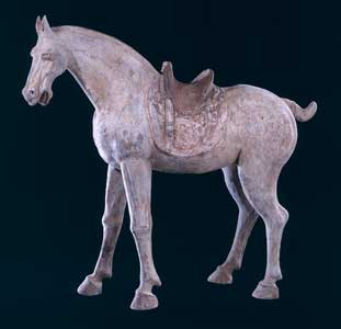 Tang Terracotta Sculpture of a Horse with a Painted Saddle