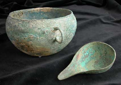 Han Bronze Bowl and Spoon