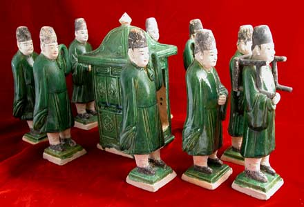 Set of Nine Ming Glazed Terracotta Attendants and a Palanquin