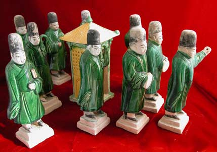 Set of Ten Ming Glazed Terracotta Attendants and a Palanquin