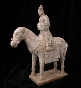 Ming Polychrome Terracotta Sculpture of a Horse and Rider