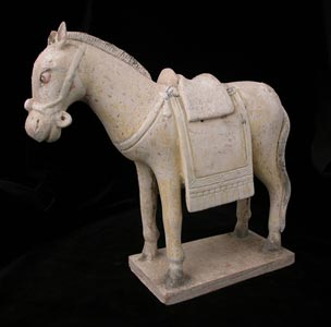 Ming Terracotta Polychrome Sculpture of a Horse