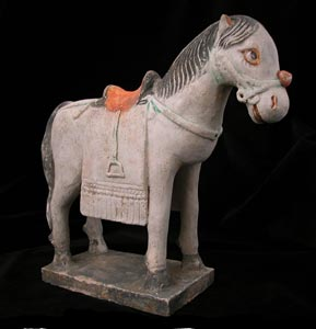 Ming Polychrome Terracotta Sculpture of a Horse