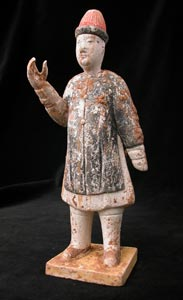 Ming Terracotta Polychrome Sculpture of an Attendant