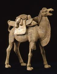 Early Tang Terracotta Camel with Removable Saddle