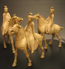3 Piece Set of Early Tang Painted Pottery Horses with Detachable Lady Riders
