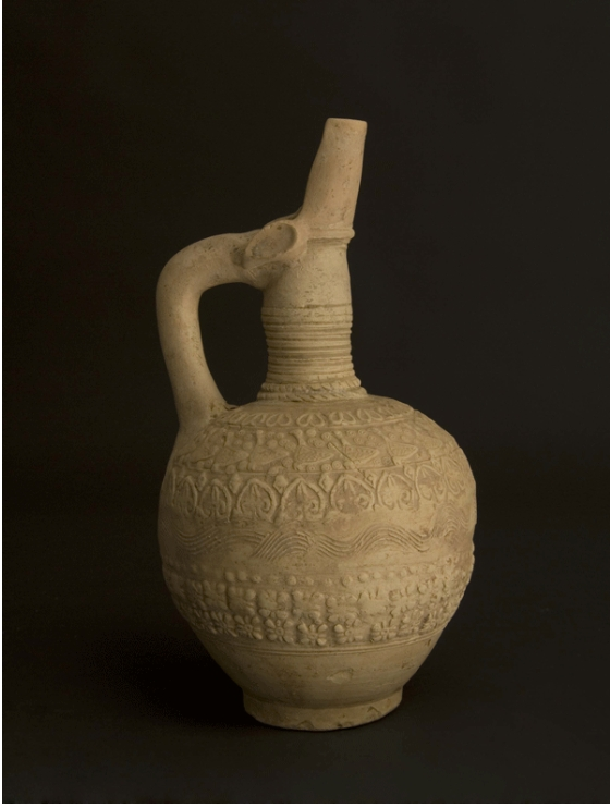Islamic Terracotta Ewer with Molded Decorations