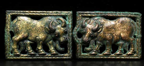 A Pair of Ordos Bronze Belt Buckle Plaques