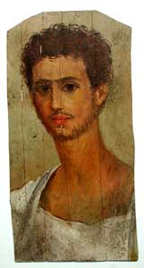 Roman Period Egyptian Mummy Portrait Depicting an Aristocratic Young Man