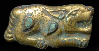 Gilt Bronze Zoomorphic Buckle Inlaid with Turquoise