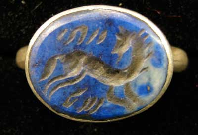 Lapis Lazuli Horse Seal Set in a Silver Ring