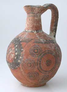 Iron Age Cypriot Jug With Painted Circular Motifs