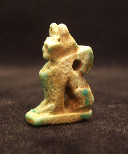 Faience Amulet in the Form of a Cat