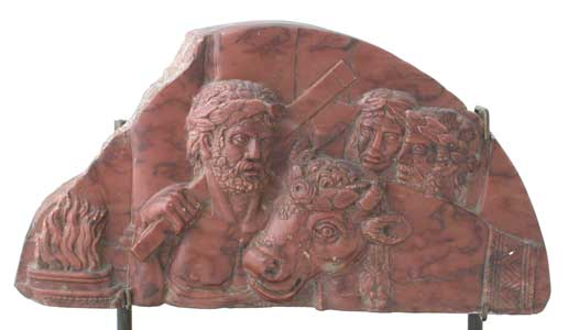 Red Jasper Sculpture of a Roman Sacrifice
