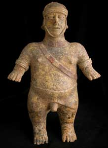 El Arenal Brown Style Jalisco Terracotta Sculpture of a Man Wearing a Helmet