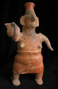 Colima Sculpture of a Woman Carrying a Vase