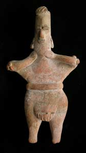 Tuxcacuesco-Ortices Style Colima Terracotta Sculpture of a Standing Ballplayer