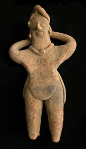 Tuxcacuesco-Ortices Style Colima Terracotta Sculpture of a Man with Raised Arms