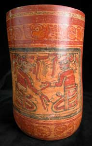 Mayan Polychrome Cylindrical Vase