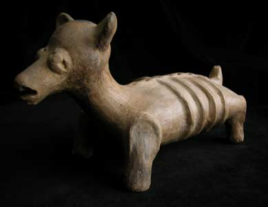 Jalisco Sculpture of a Dog with a Pup