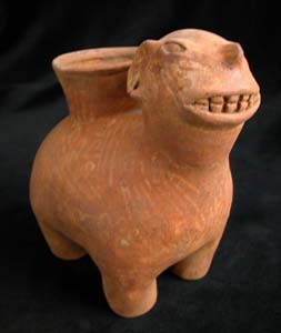 Panzaleo Terracotta Vessel in the Form of a Jaguar