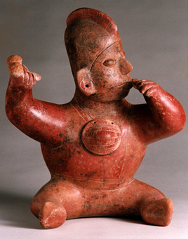 Colima Sculpture of a Seated Hunchback with Peyote Buttons