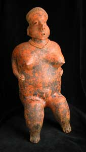 San Sebastián Style Nayarit Terracotta Sculpture of a Seated Woman