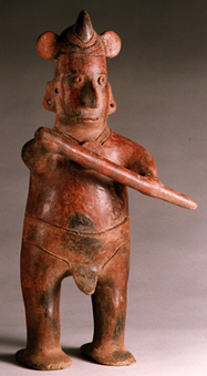 Colima Sculpture of a Standing Shaman Warrior