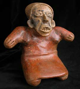 Ameca-Ezatlán Style Jalisco Terracotta Sculpture of an Elderly Kneeling Woman