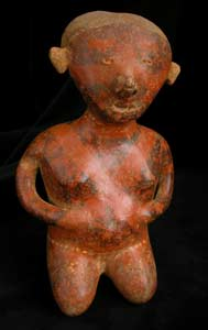 Chinesco Style (Type C) Nayarit Terracotta Sculpture of a Kneeling Man
