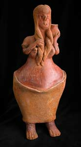 San Sebastián Style Nayarit Terracotta Sculpture of a Woman Carrying a Vessel