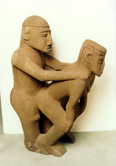 Basalt Sculpture of a Copulating Couple