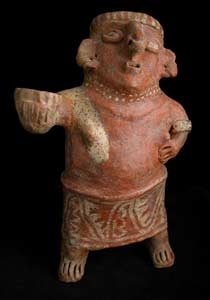 Ixtlán del Rio Style Nayarit Terracotta Sculpture of Woman Holding Cup