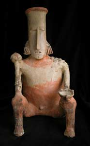 San Juanito Style Jalisco Terracotta Seated Man Holding a Club and Bowl