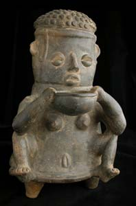 Tairona Sculpture of a Seated Woman Holding a Bowl