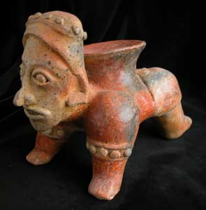 Ameca-Ezatlán Style Jalisco Terracotta Vessel in the Form of a Crawling Man