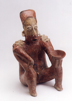 Ameca-Ezatlán Style Jalisco Seated Man Holding a Scepter and an Offering Bowl