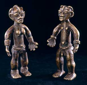 Pair of Dan Bronze Sculptures of a Man and Woman