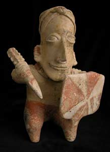 Ameca-Ezatlán Style Jalisco Terracotta Seated Warrior Holding a Spear and Shield