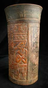 Mayan Carved Polychrome Cylindrical Vessel