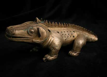 Pre-Columbian Art / Tumbaga Sculpture of a Crocodile