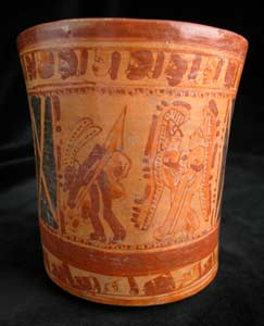 Mayan Painted Cylindrical Vessel