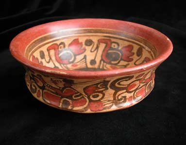 Copador Style Mayan Painted Terracotta Bowl
