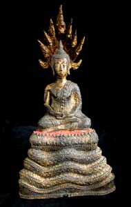 Rattanakosin Gilt Bronze Sculpture of Buddha Meditating on Naga