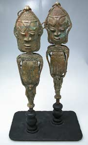 Yoruba Linked Pair of Brass Edan Sculptures