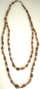 Carnelian, Brown Quartz And Faience Bead Necklace